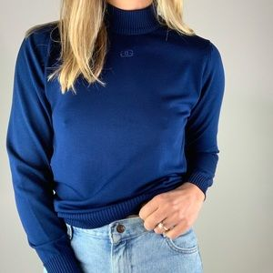 Vintage Cobalt Mockneck Embroidered Knit Sweater